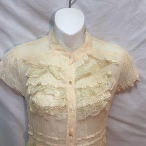 Xhilaration Dresses - New retro sheer ruffled Mini dress button front M